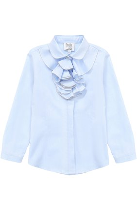 Хлопковая блуза прямого кроя с оборками и декоративной отделкой | Фото №1