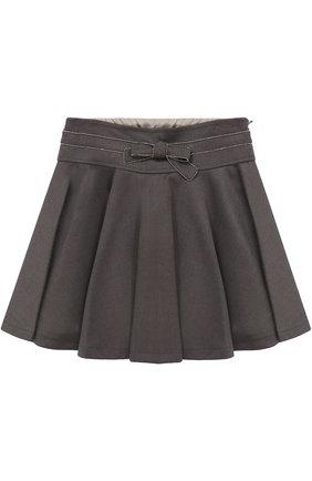 Мини-юбка с бантом и декоративной отделкой | Фото №1