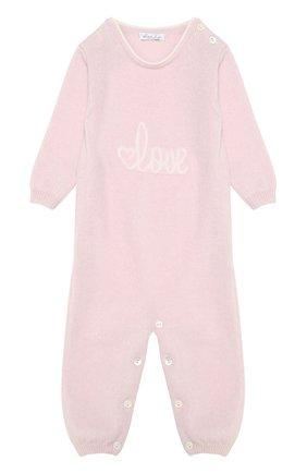 Детский кашемировый комбинезон с принтом LOVE IN KYO розового цвета, арт. A17C402/9M-12M | Фото 1
