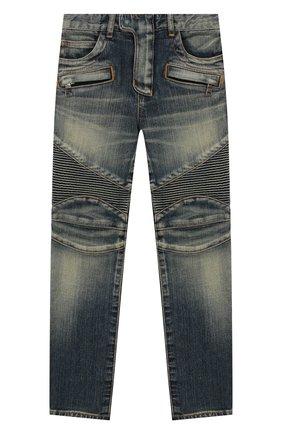 Детские джинсы зауженного кроя с декоративными потертостями BALMAIN синего цвета, арт. P0E/9001/T116V | Фото 1