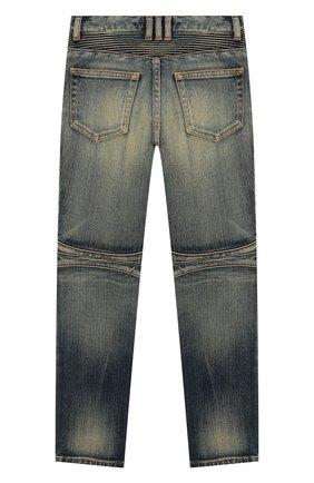 Детские джинсы зауженного кроя с декоративными потертостями BALMAIN синего цвета, арт. P0E/9001/T116V | Фото 2