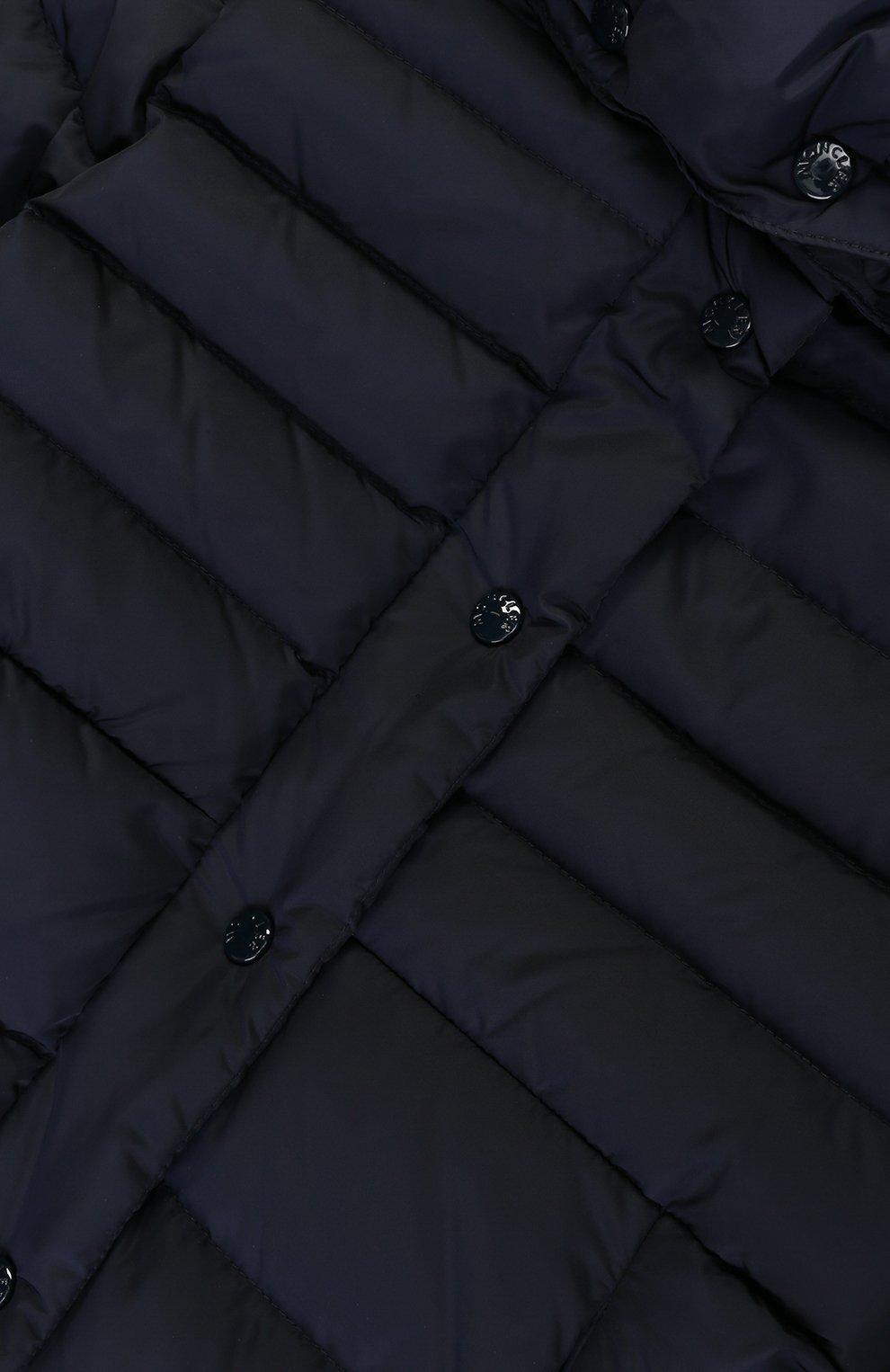 Пуховое пальто с капюшоном и меховой отделкой   Фото №3