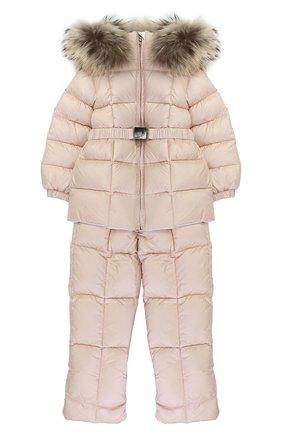 Детского пуховый комплект из комбинезона и куртки с меховой отделкой MONCLER ENFANT светло-розового цвета, арт. C2-951-70336-25-53048 | Фото 1