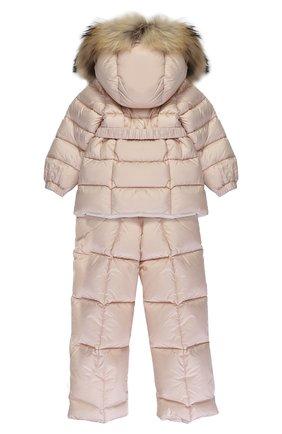 Детского пуховый комплект из комбинезона и куртки с меховой отделкой MONCLER ENFANT светло-розового цвета, арт. C2-951-70336-25-53048 | Фото 2