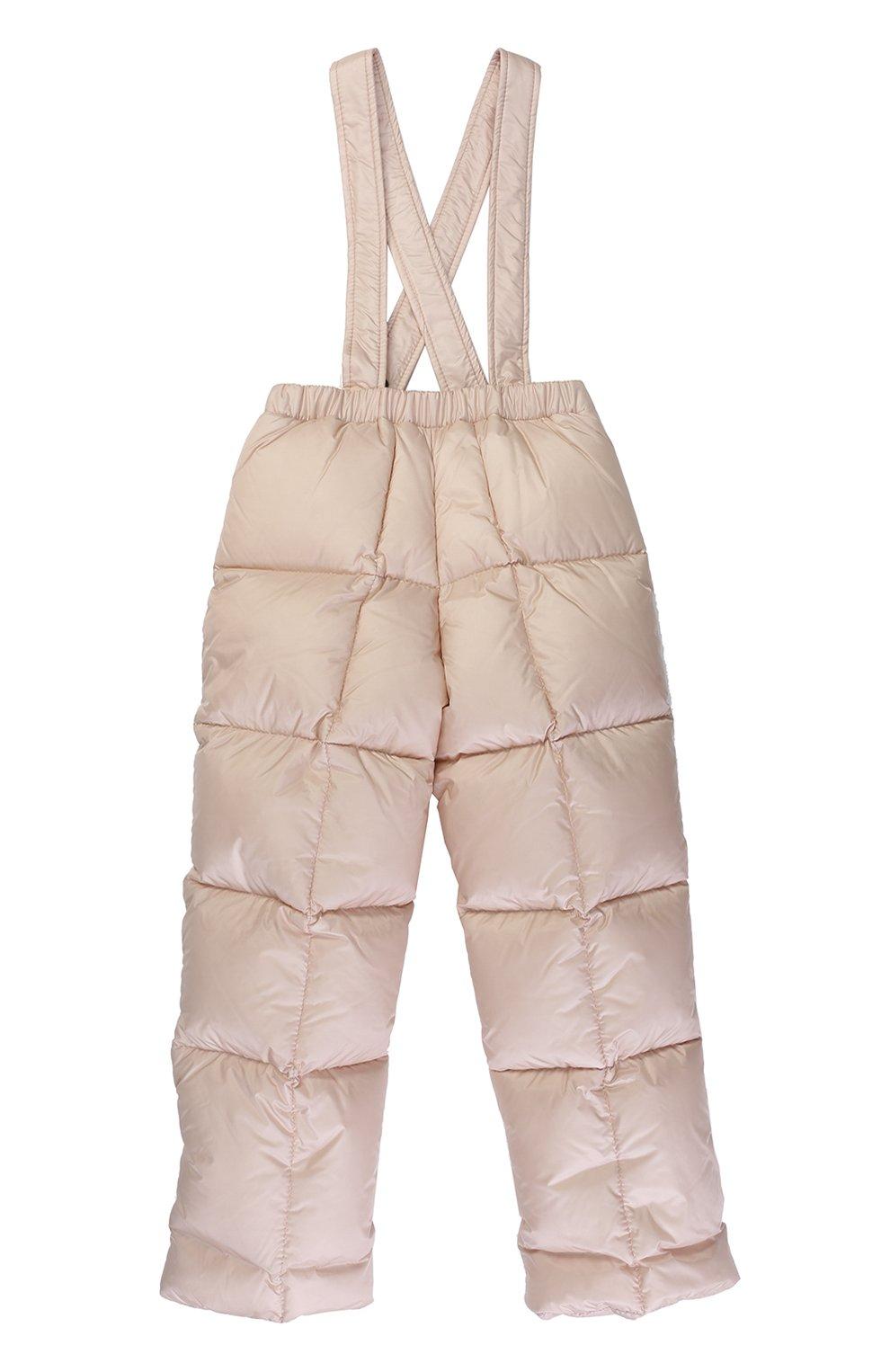 Детского пуховый комплект из комбинезона и куртки с меховой отделкой MONCLER ENFANT светло-розового цвета, арт. C2-951-70336-25-53048 | Фото 4