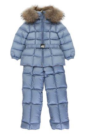 Детского пуховый комплект из комбинезона и куртки с меховой отделкой MONCLER ENFANT голубого цвета, арт. C2-951-70336-25-53048 | Фото 1