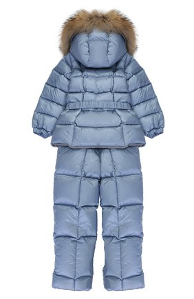 Детского пуховый комплект из комбинезона и куртки с меховой отделкой MONCLER ENFANT голубого цвета, арт. C2-951-70336-25-53048 | Фото 2