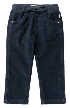 Детские хлопковые брюки прямого кроя с эластичным поясом IL GUFO синего цвета, арт. A17PL035V6005/12M-18M | Фото 1
