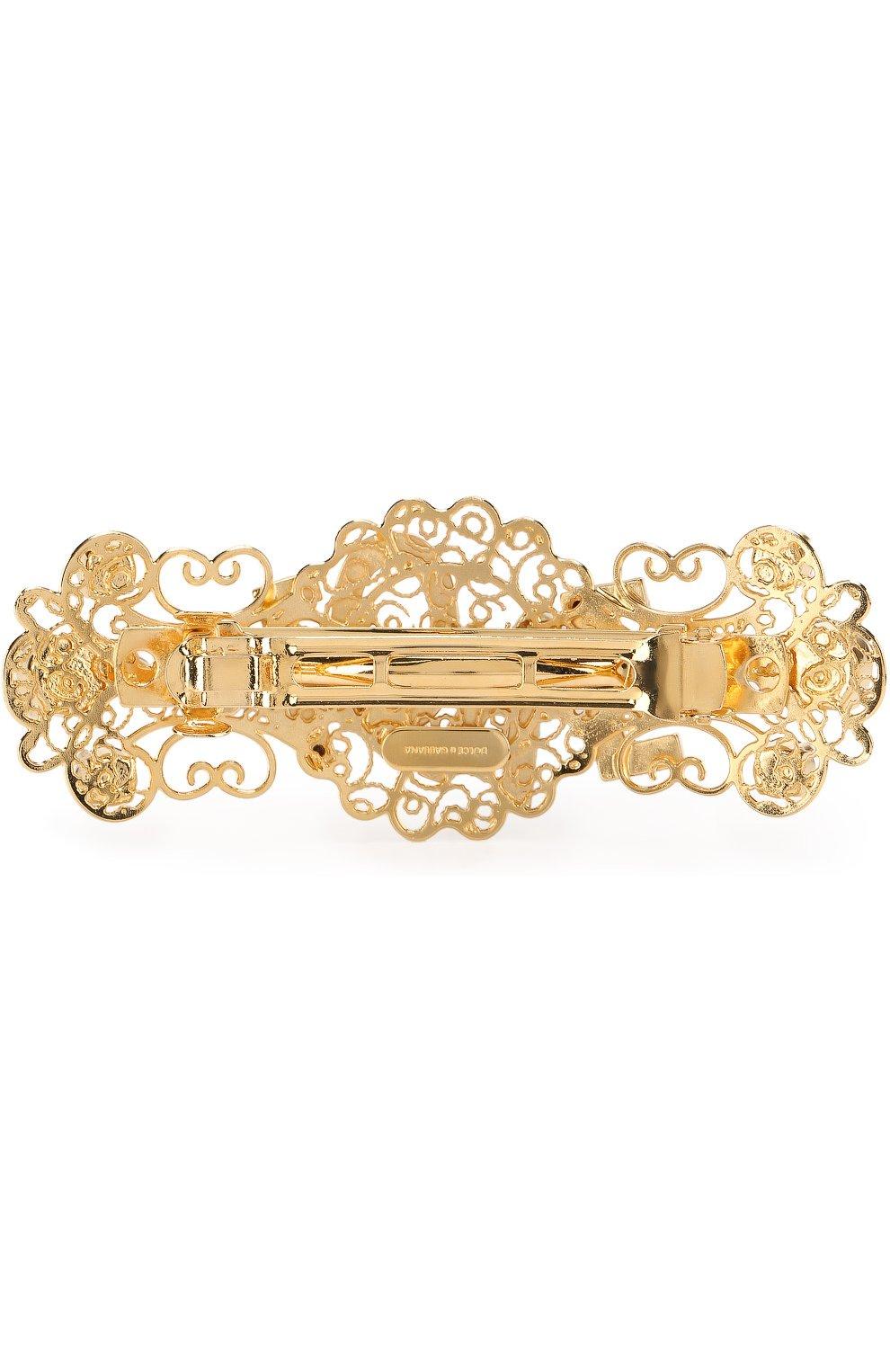 Заколка со стразами Dolce & Gabbana золотого цвета | Фото №2