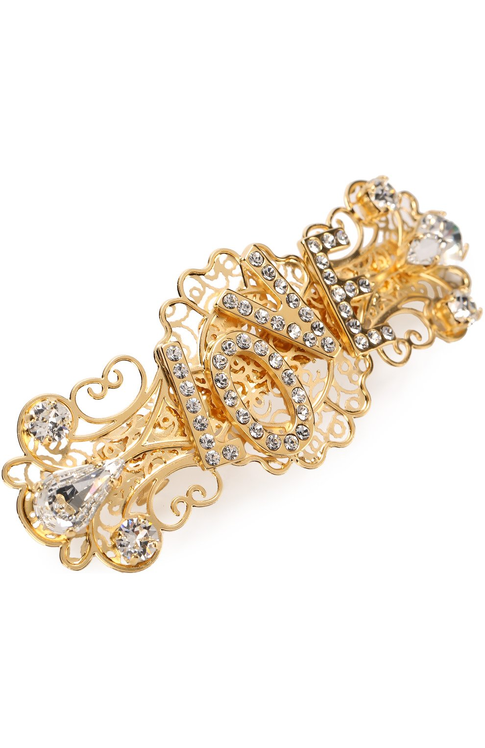 Заколка со стразами Dolce & Gabbana золотого цвета | Фото №3