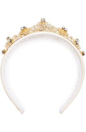 Текстильный ободок с металлическим декором и кристаллами Dolce & Gabbana золотого цвета | Фото №1