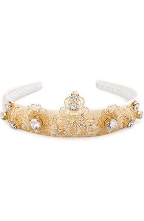 Текстильный ободок с металлическим декором и кристаллами Dolce & Gabbana золотого цвета | Фото №2