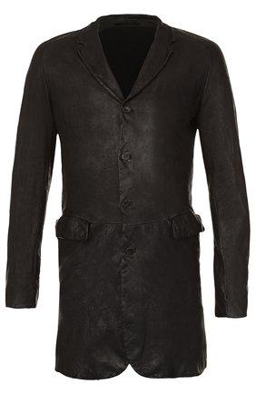 Кожаное однобортное пальто Salvatore Santoro черного цвета | Фото №1