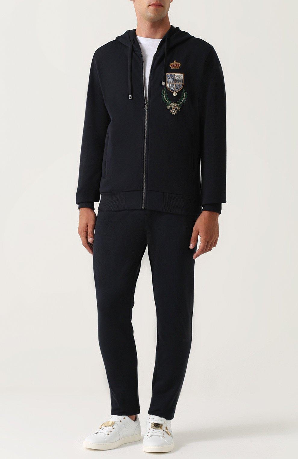 Кардиган на молнии с капюшоном и вышивкой Dolce & Gabbana синий | Фото №2