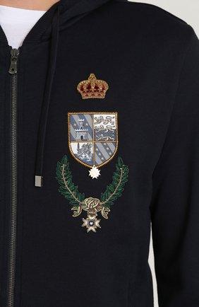 Кардиган на молнии с капюшоном и вышивкой Dolce & Gabbana синий | Фото №5