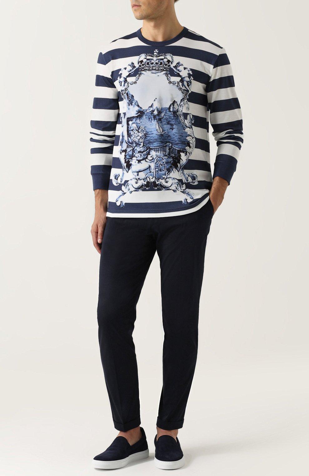 Хлопковые брюки прямого кроя Dolce & Gabbana синие | Фото №2