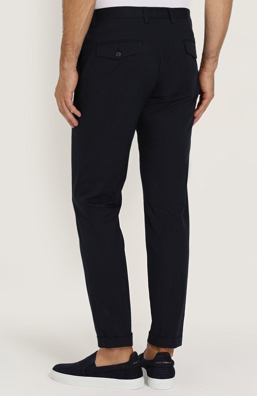 Хлопковые брюки прямого кроя Dolce & Gabbana синие | Фото №4