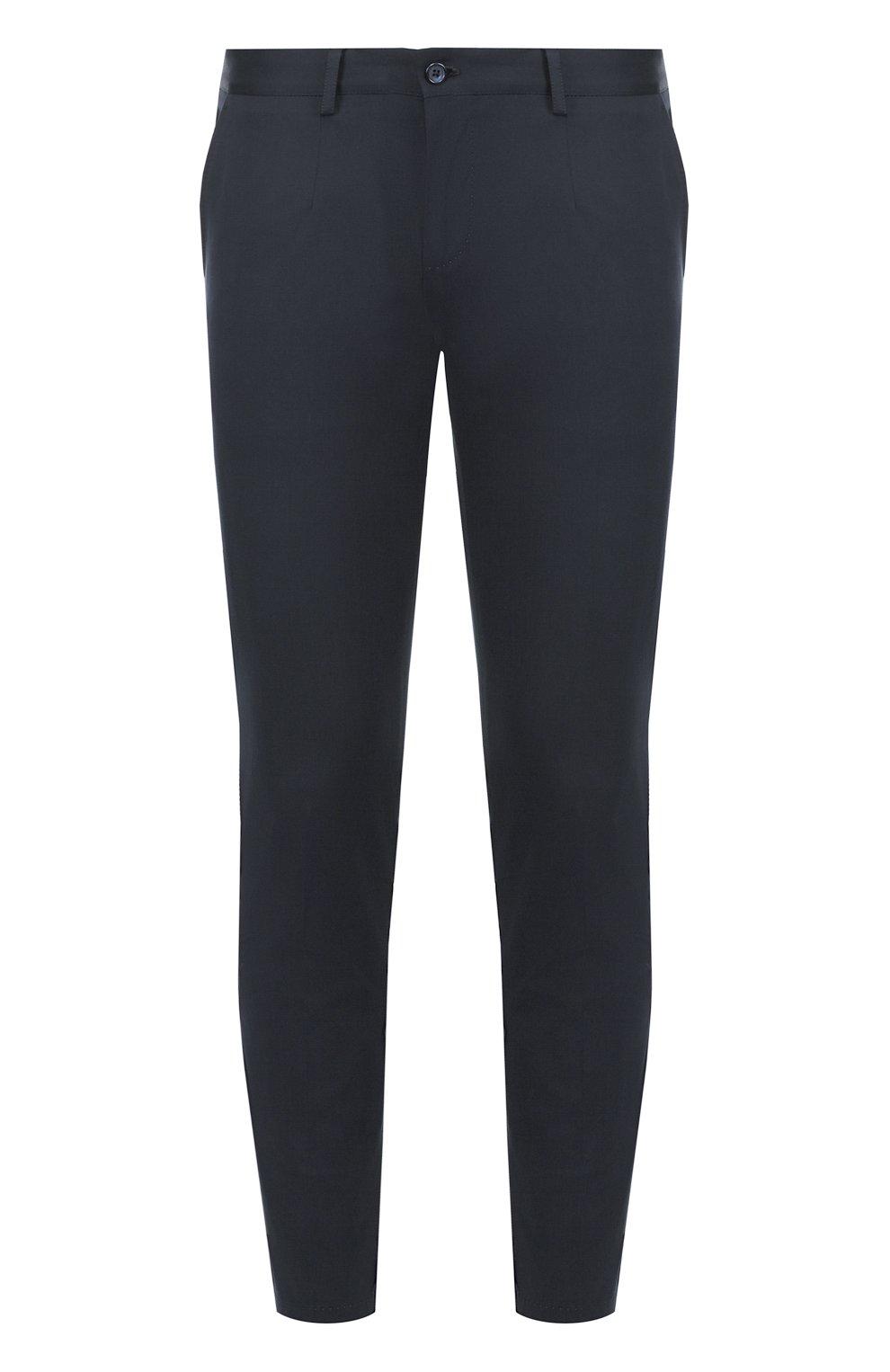 Хлопковые брюки с контрастными лацканами   Фото №1