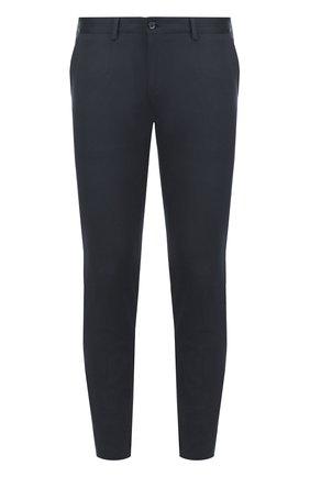Хлопковые брюки с контрастными лацканами Dolce & Gabbana темно-синие   Фото №1