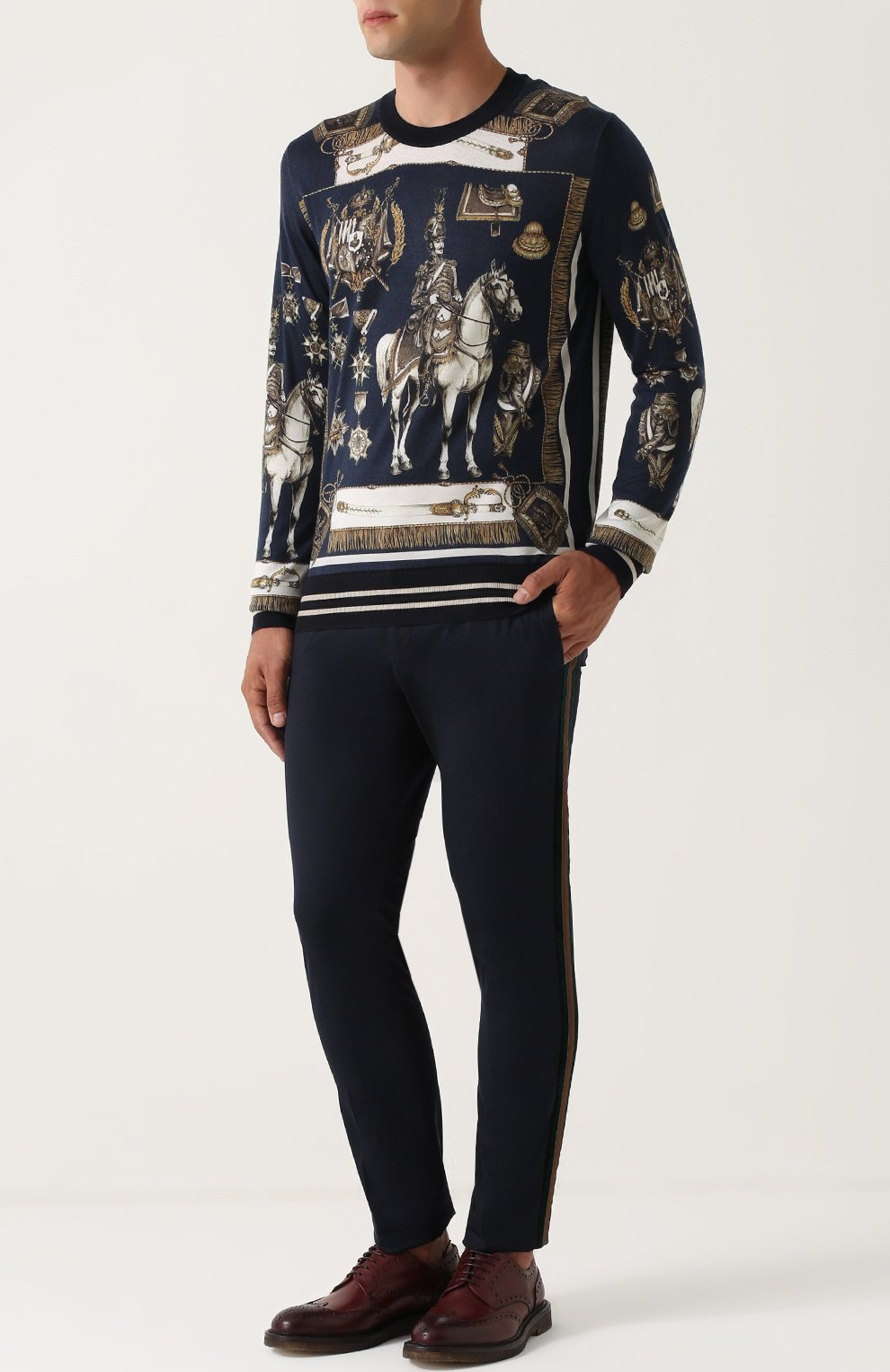 Хлопковые брюки с контрастными лацканами Dolce & Gabbana темно-синие   Фото №2
