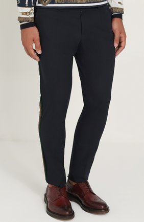 Хлопковые брюки с контрастными лацканами Dolce & Gabbana темно-синие   Фото №3