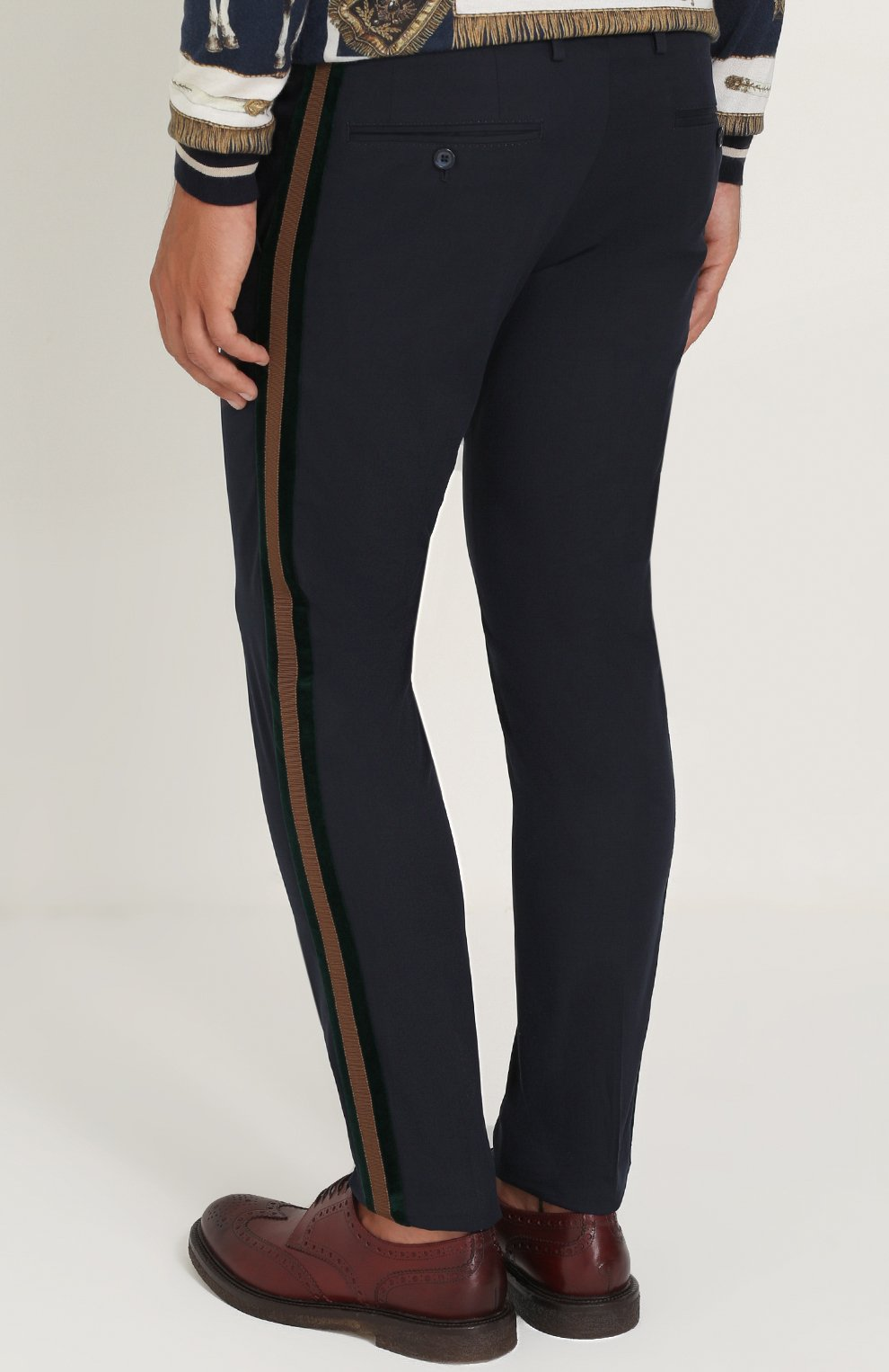 Хлопковые брюки с контрастными лацканами Dolce & Gabbana темно-синие   Фото №4