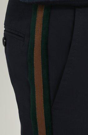 Хлопковые брюки с контрастными лацканами Dolce & Gabbana темно-синие   Фото №5