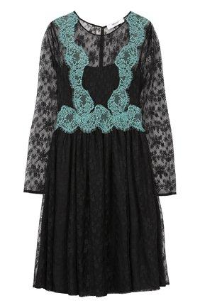 Приталенное кружевное платье с длинным рукавом Blugirl черное | Фото №1