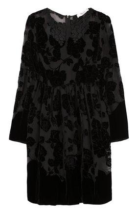 Мини-платье с завышенной талией и длинным рукавом Blugirl черное | Фото №1