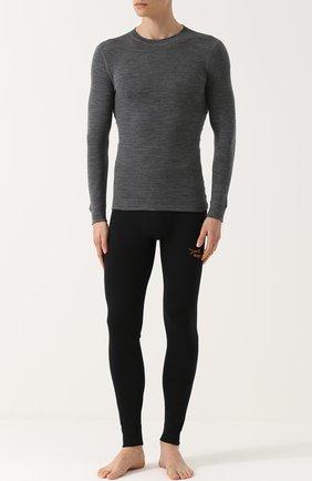 Мужские шерстяной лонгслив с круглым вырезом NORVEG серого цвета, арт. 14SM1RLRU | Фото 2