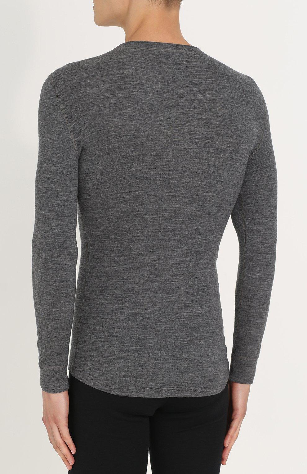 Мужская шерстяной лонгслив с круглым вырезом NORVEG серого цвета, арт. 14SM1RLRU   Фото 4