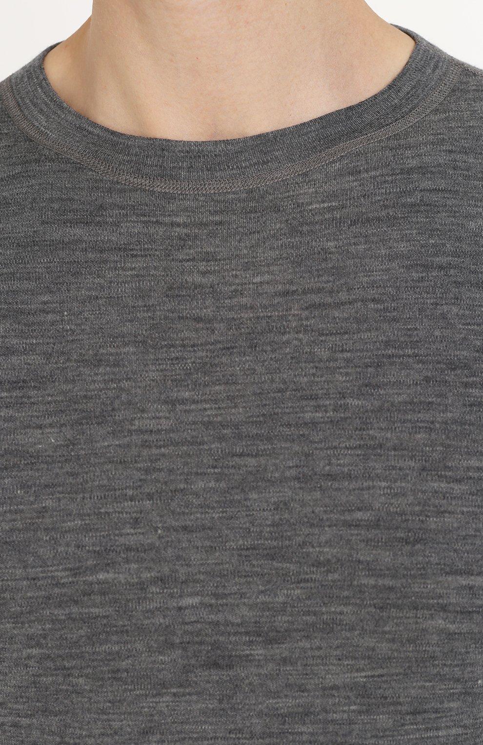 Мужская шерстяной лонгслив с круглым вырезом NORVEG серого цвета, арт. 14SM1RLRU   Фото 5