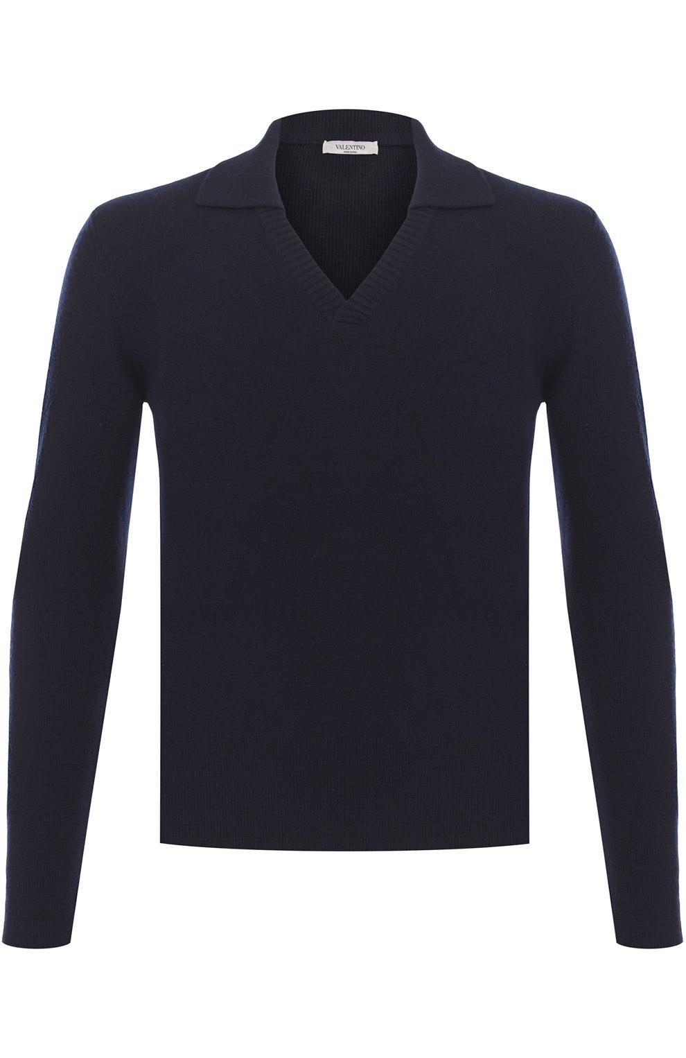 Пуловер из смеси шерсти и кашемира с отложным воротником   Фото №1