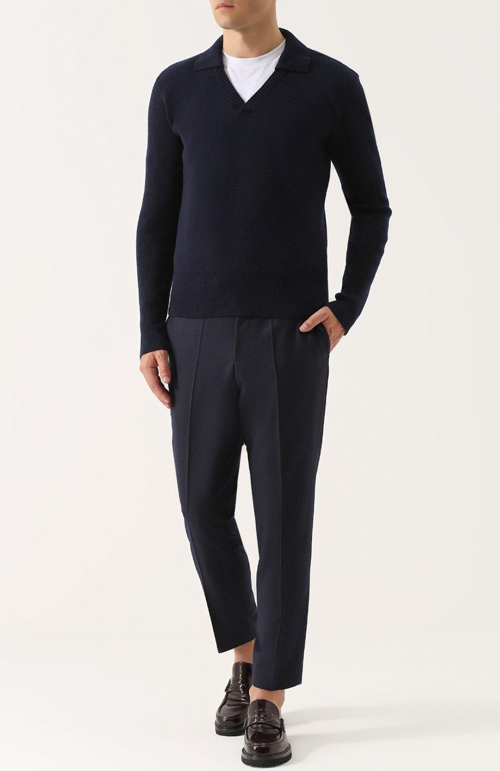Пуловер из смеси шерсти и кашемира с отложным воротником   Фото №2