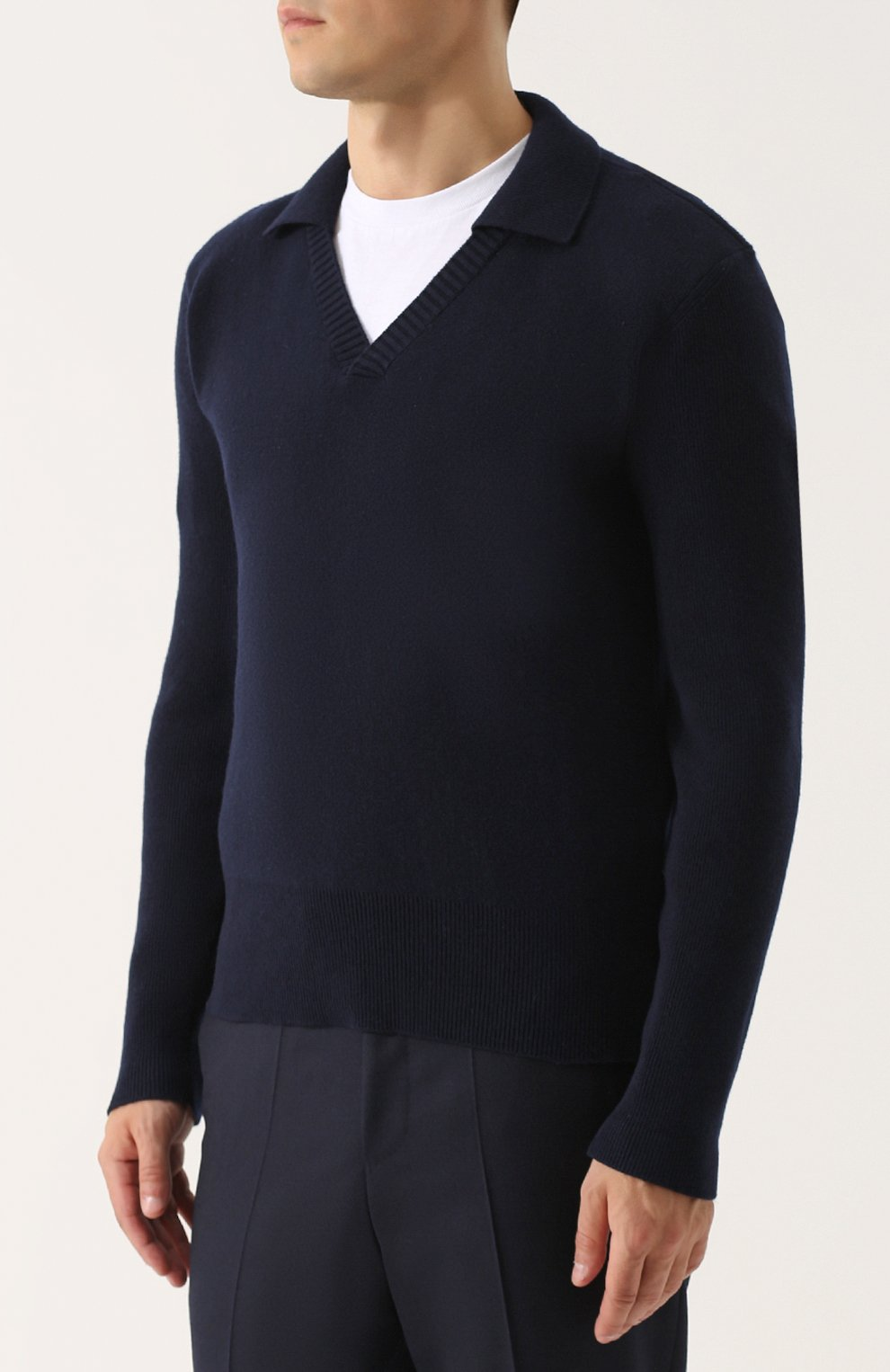 Пуловер из смеси шерсти и кашемира с отложным воротником   Фото №3