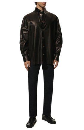 Мужские кожаные кеды  TOM FORD черного цвета, арт. J1045N-DAP | Фото 2
