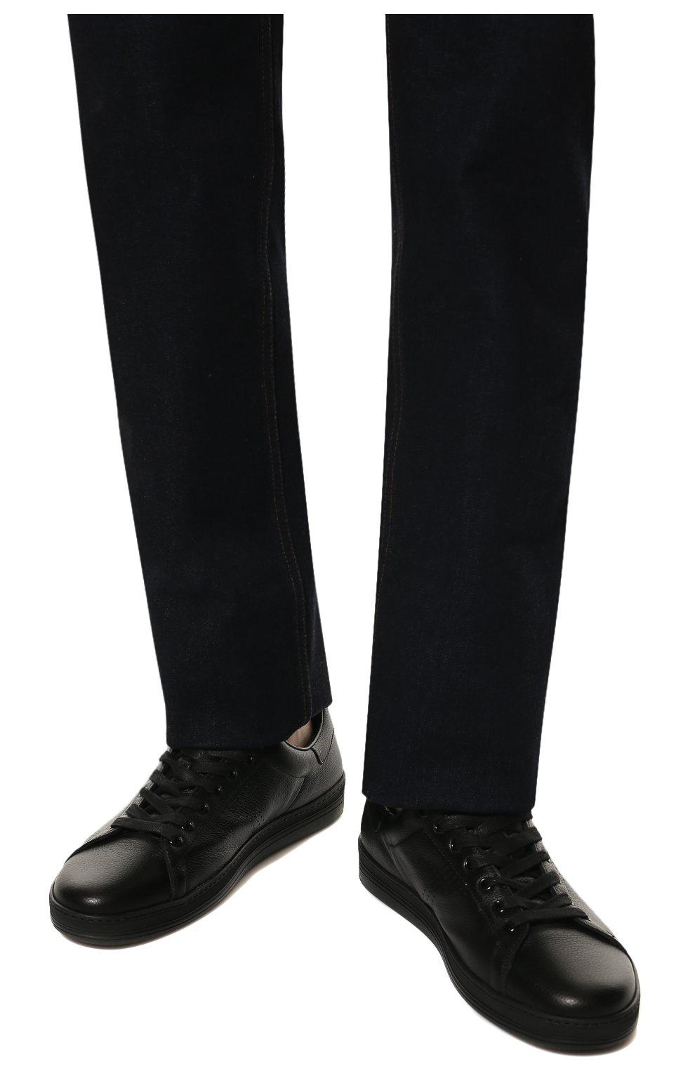 Мужские кожаные кеды  TOM FORD черного цвета, арт. J1045N-DAP | Фото 3
