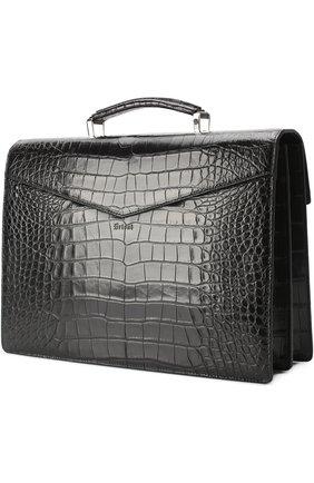 Портфель из кожи аллигатора Brioni черный | Фото №3