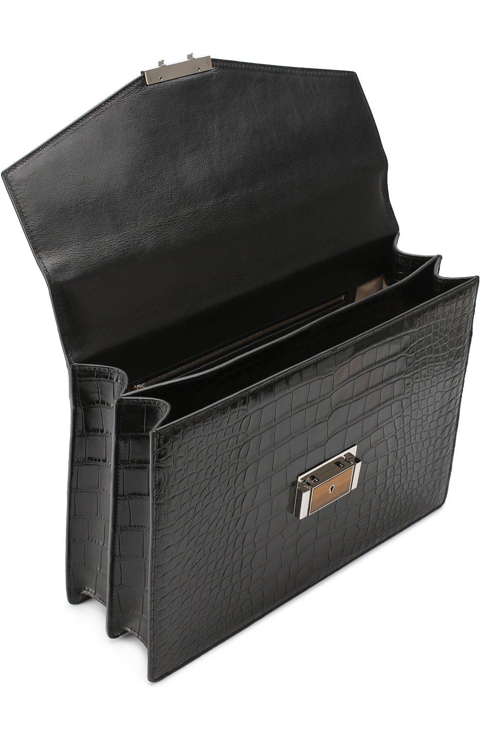Портфель из кожи аллигатора Brioni черный | Фото №4