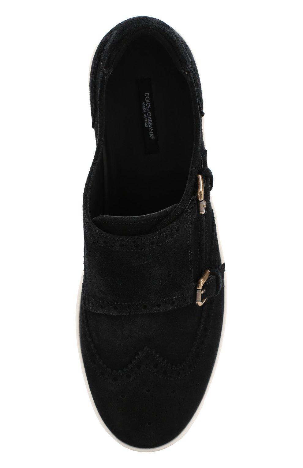 Замшевые кеды London с ремешками Dolce & Gabbana черные | Фото №5