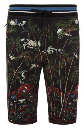 Хлопковые шорты с принтом Dolce & Gabbana черные | Фото №1
