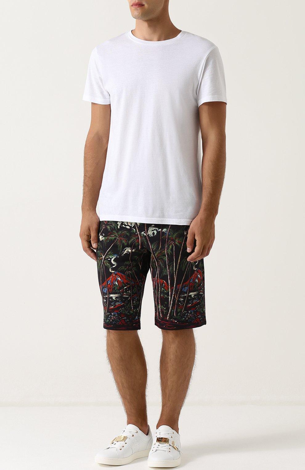 Хлопковые шорты с принтом Dolce & Gabbana черные | Фото №2