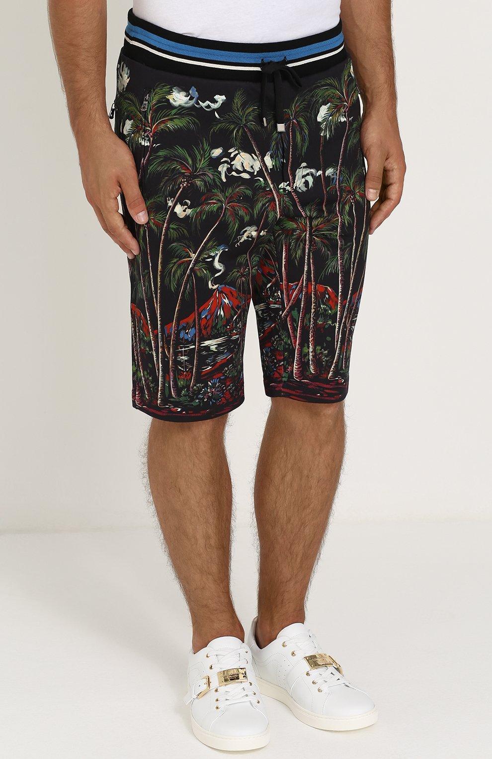 Хлопковые шорты с принтом Dolce & Gabbana черные | Фото №3