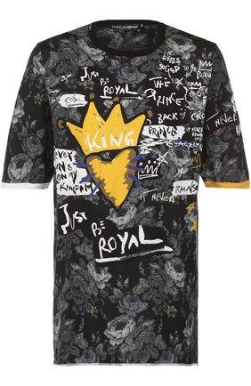 Удлиненная хлопковая футболка с принтом Dolce & Gabbana серая | Фото №1