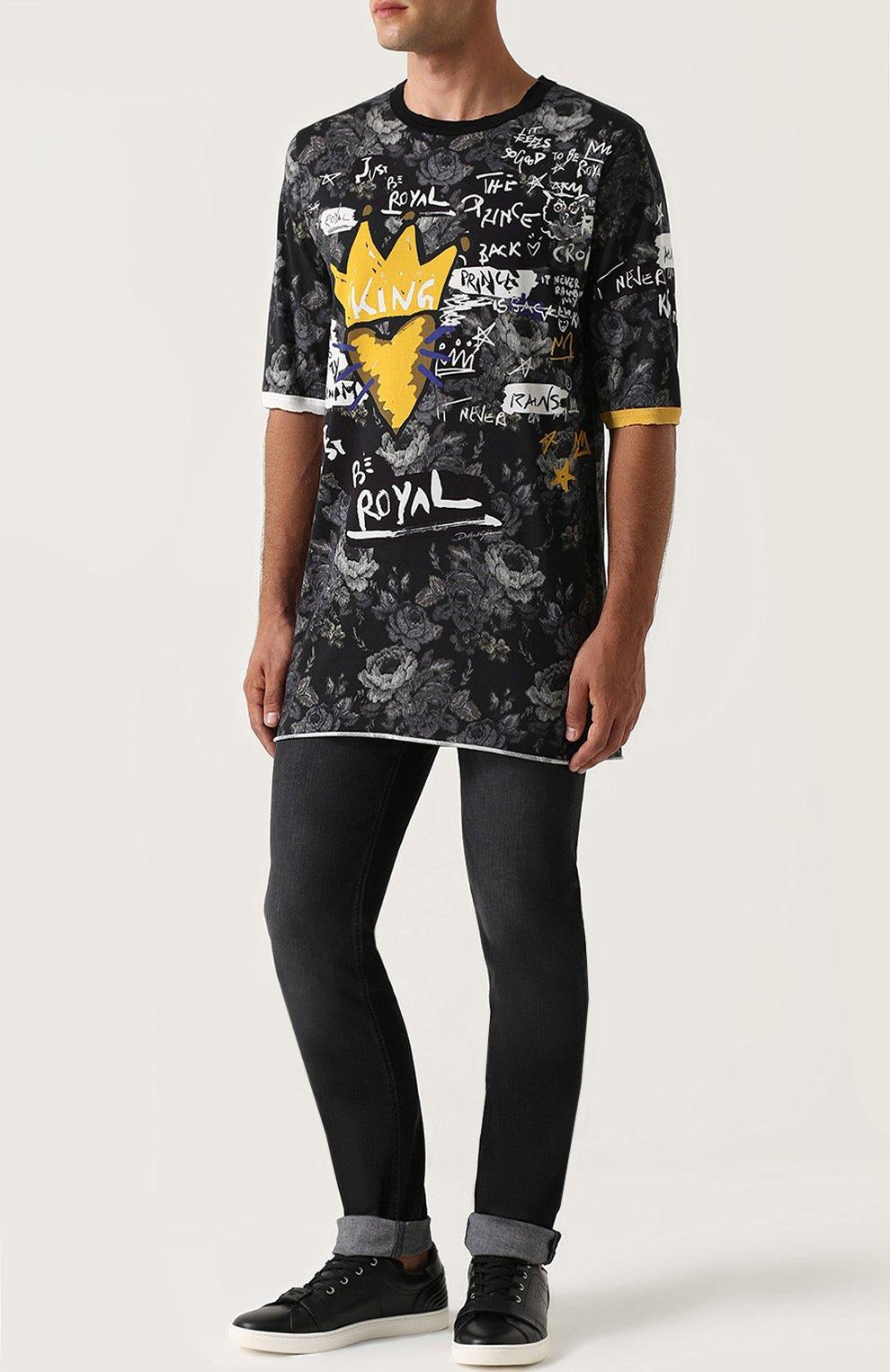 Удлиненная хлопковая футболка с принтом Dolce & Gabbana серая | Фото №2