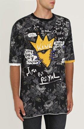 Удлиненная хлопковая футболка с принтом Dolce & Gabbana серая | Фото №3