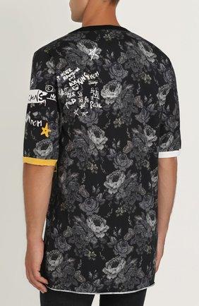 Удлиненная хлопковая футболка с принтом Dolce & Gabbana серая | Фото №4