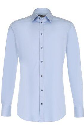 Хлопковая сорочка с воротником кент Dolce & Gabbana голубая | Фото №1