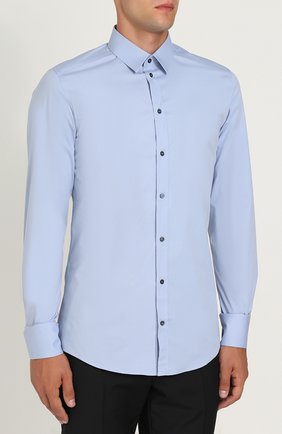 Хлопковая сорочка с воротником кент Dolce & Gabbana голубая | Фото №3
