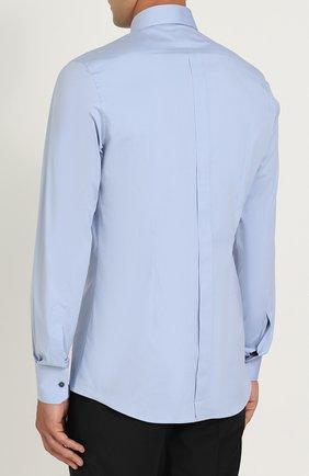 Хлопковая сорочка с воротником кент Dolce & Gabbana голубая | Фото №4